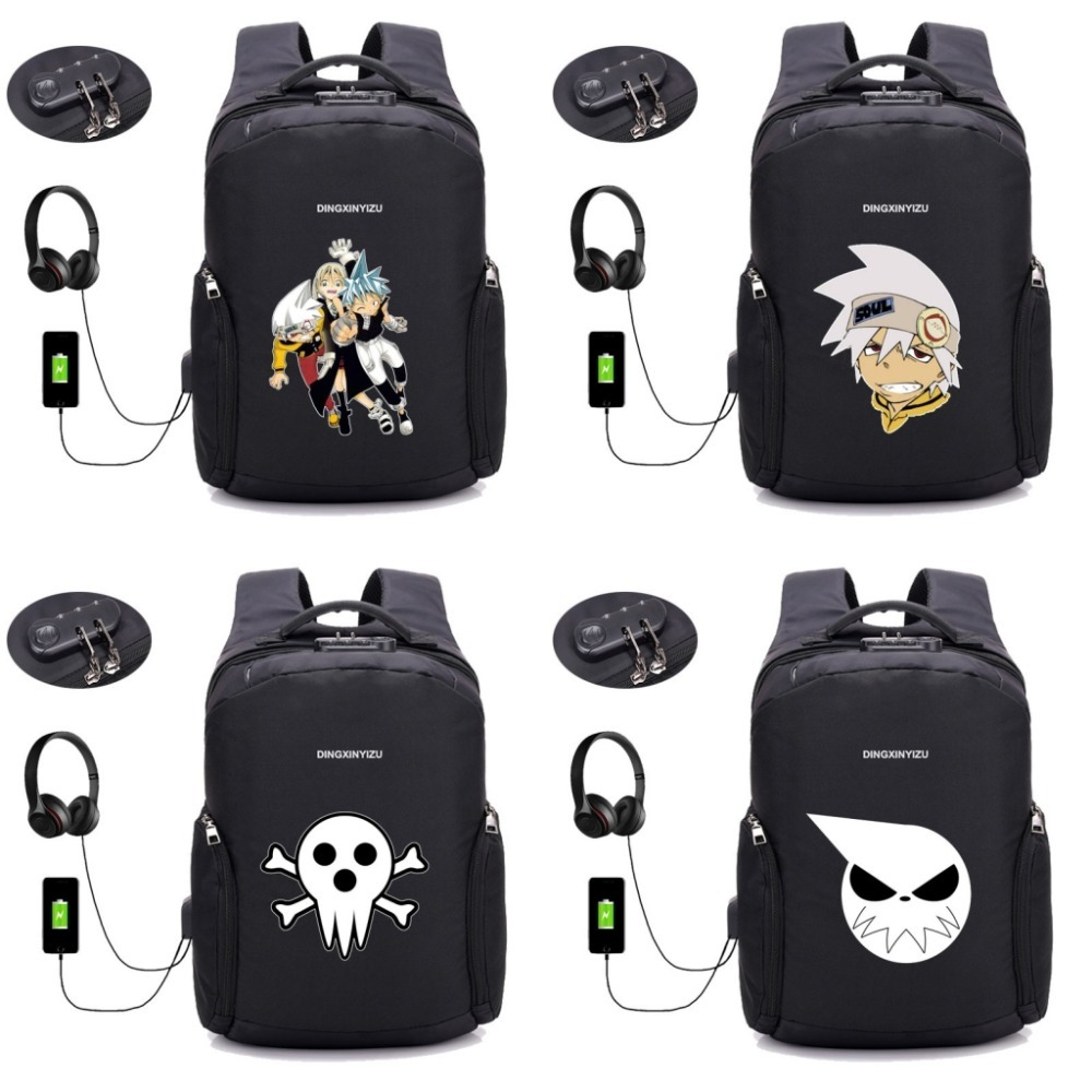 Japon anime Soul Eater sac à dos Anti-vol sac à dos USB Charge pochette d'ordinateur unisexe sac à dos étudiant livre sac à dos 16 style