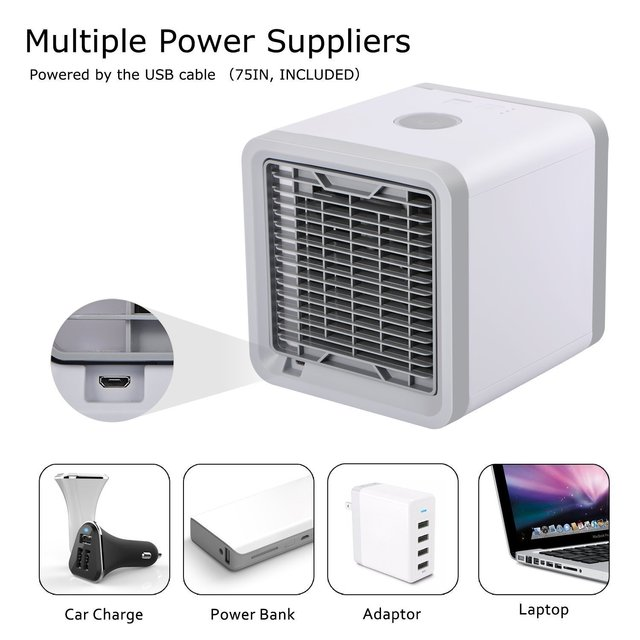 Mini USB Portable Air Conditioner Conditioning Humidifier Purifier 7 Colors Light Desktop Arctic Air Cooler Fan For Home Office 2