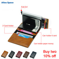 Purse Bag Cardholder Business Card Holder PU Credit Card Wallet ID Passport Case Solid Travel Accessories OL Metal for Men Women