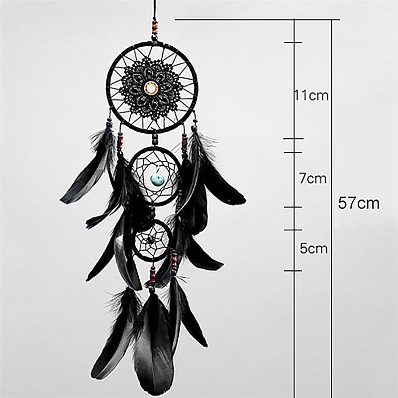 Mysterious Multi Ring Black Dream Catcher Hanging Ornament Retro Artificial Black Feather Wall Art Ornament Home Decor in Wind Chimes Hanging Decorations from Home Garden