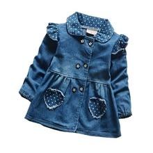 все цены на Children Girls Dresses Jeans Blue Cartoon Dress Spring Autumn Brand Baby Cotton Long Sleeve Dresses Fashion Kids Toddler Clothes онлайн