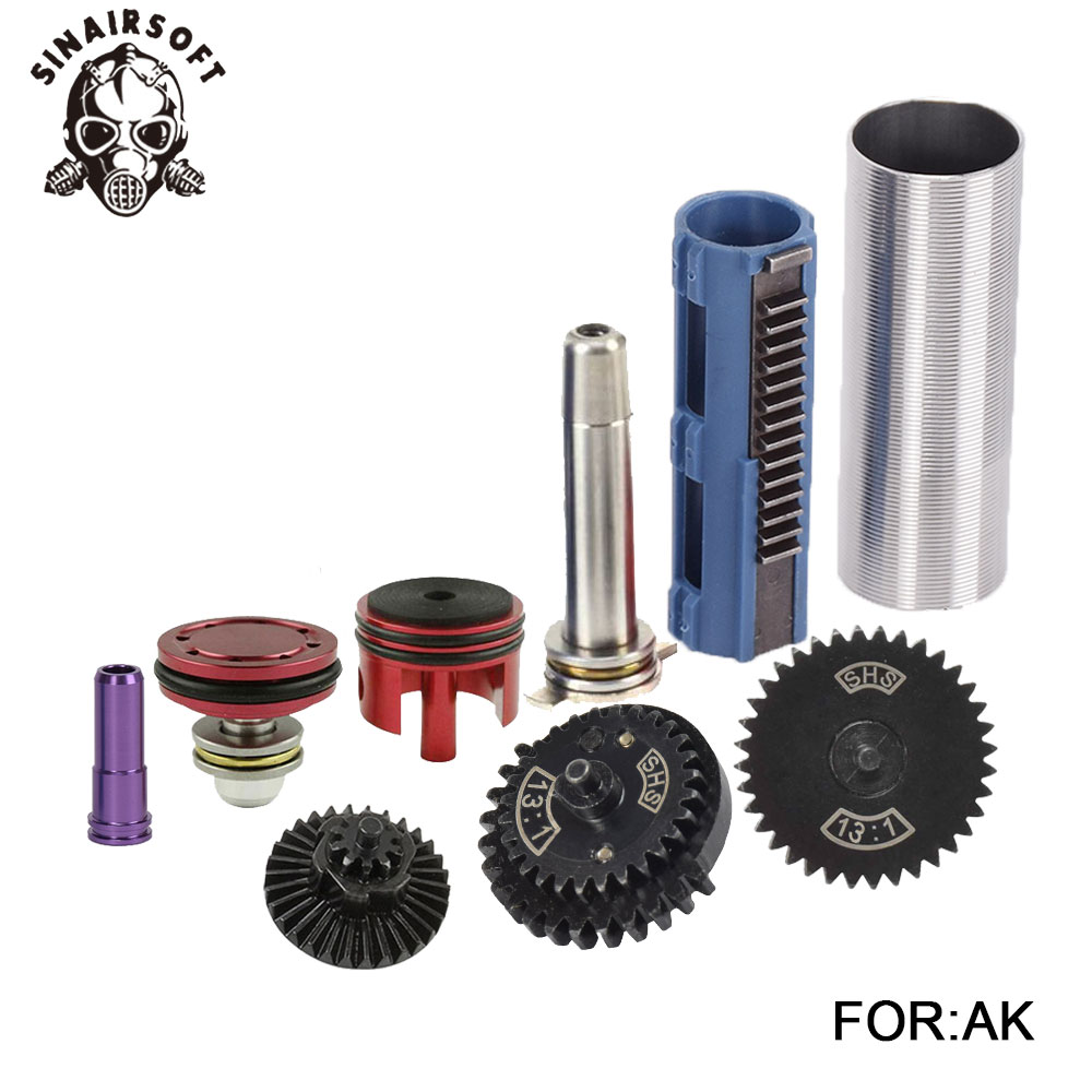 SHS 13 1 Gear 14 Teeth Piston Nozzle Cylinder Spring Guide Kit For AEG Airsoft AK