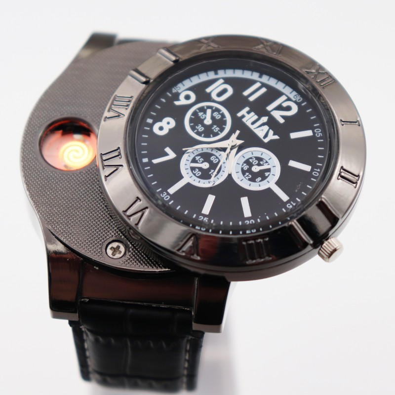 Lighter Watch Men's Military USB Charging Quartz Watches Sports Watch Windproof Flameless Cigarette Lighter F665-1 Leather 1pcs