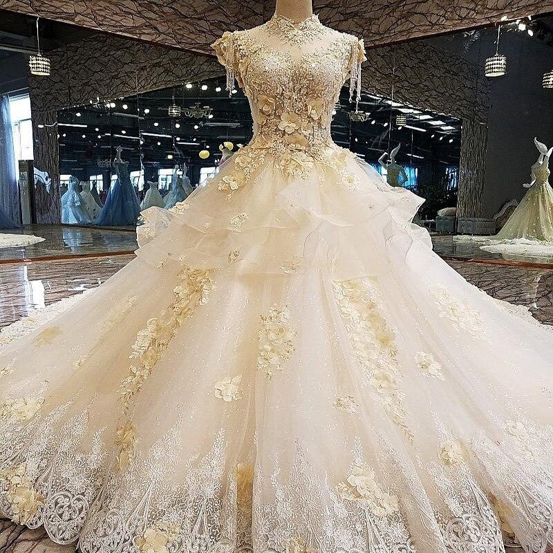 Vivian's Bridal Champagne Color Flower Appliques Wedding Dress Backless Ruffle Tassel High-end Customized Muslim Bridal Dress
