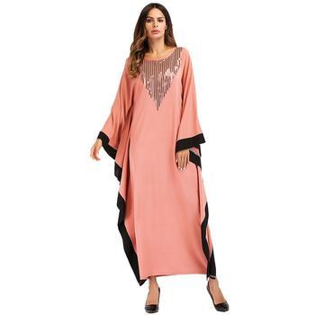 7822063b8 Las mujeres musulmanas vestido Dubai Ramadán Abaya Kaftan manga murciélago ropa  islámica trajes cóctel Maxi vestidos árabe Jilbab Casual nuevo