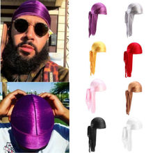 Новая мода мужские атласные дюраги Бандана тюрбан Парики мужские шелковистые дюраг головные уборы головная повязка пиратская шляпа аксессуары для волос