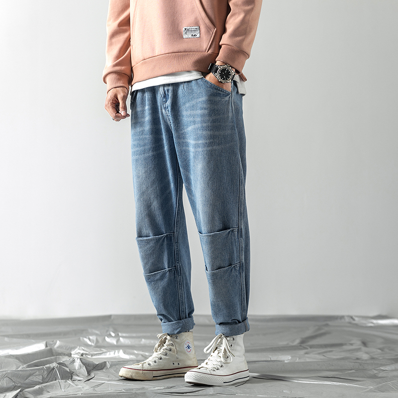 2019 Japanese Men 39 s Trend Haren Casual Pants Cowboy Baggy Homme Classic Cargo Pocket Wash Jeans men Blue Biker Denim Trousers in Jeans from Men 39 s Clothing