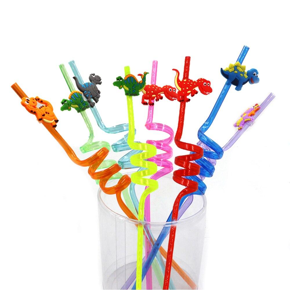 Gastvrij 8 Pcs Rietjes Zachte Wegwerp Kleurrijke Kleine Dinosaurus Plastic Gebogen Rietjes Leuke Rietje Voor Kids Kinderen Birthday Party