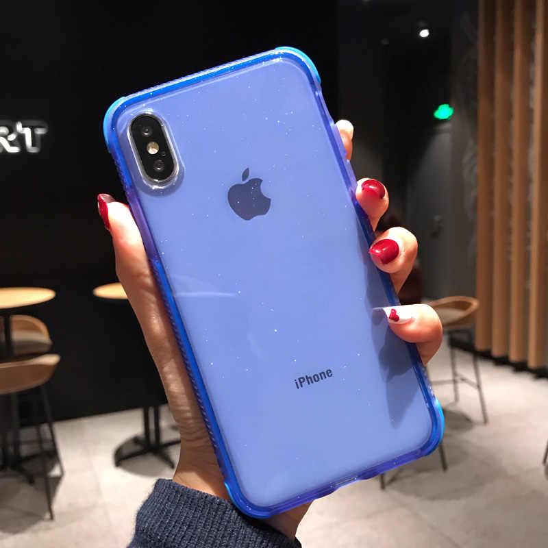 USLION brokat w proszku etui na telefon dla iPhone 11 Pro XS Max X XR odporny na wstrząsy przezroczysty miękki etui z tpu dla iPhone 7 6 8 Plus etui