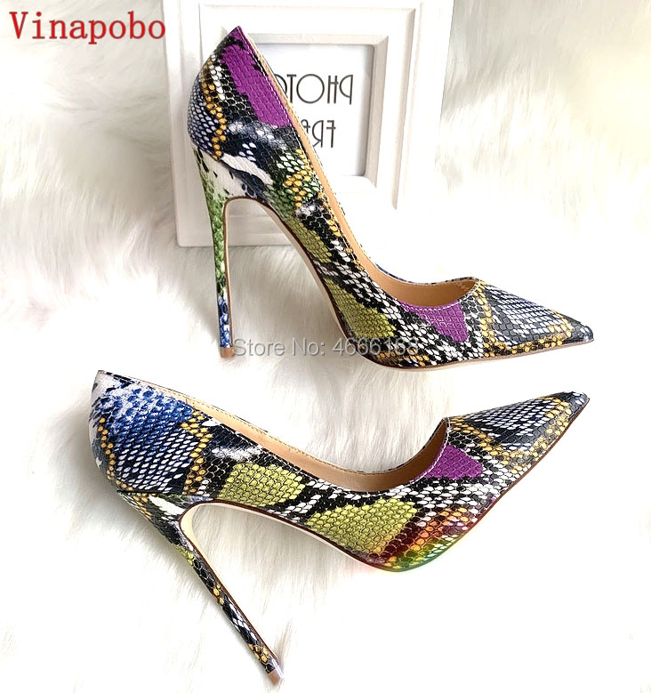 Vinapobo 2019 Hot Sales Women Pumps Fashion Sexy High Heels Shoes High Quality Snake Pattern print