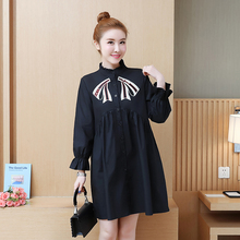 цена на Plus Size Women Shirt Dress 2019 Spring Korean Flare Sleeve Mini Dress Ruffle Collar Single Breasted Applique Lolita Style Dress
