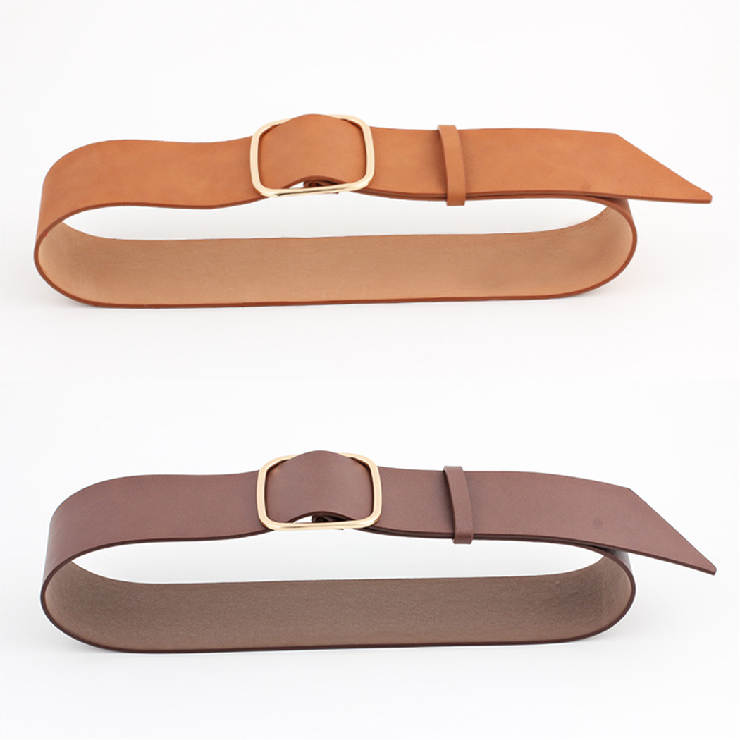 Women Fashion Faux Leather Belts Metal Square Buckle Wide Belt Waist Strap Ladies Belt Solid For Dress Jeans Waistband