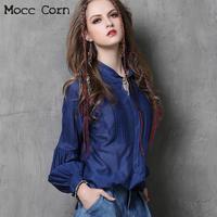 Ladies Silk Shirts Vintage Stand Collar Long Lantern Sleeve Slim Fit Top Blue Patchwork Draped Cotton Silk Shirt Women Blouses