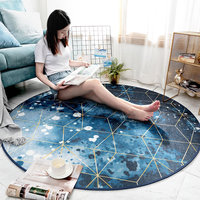 2019 Geometric Blue Sky Background Patter Round Carpet Rugs For Home Living Room Dia 80/100/120/150/200cm Table Pad Chair Mat