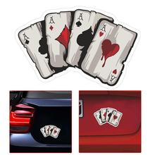 Four A Poker Graphic Car Sticker Motorcycle Auto Styling Reflective Decal Creative Car Stickers Card Pattern Exterior Accessorie