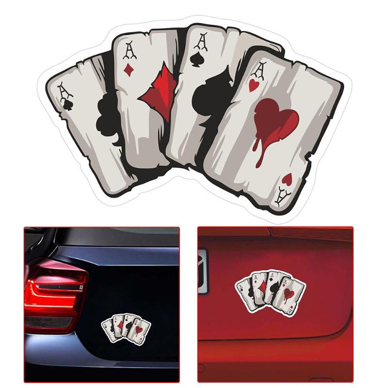 Four A Poker font b Graphic b font Car Sticker Motorcycle Auto Styling Reflective Decal Creative