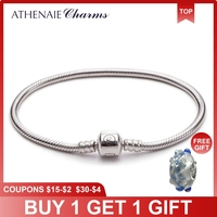 ATHENAIE 925 Sterling Silver Snake Chain Bracelet Fit for European Charm Beads