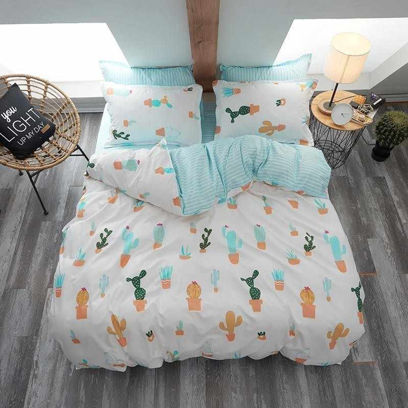 Cartoon Plant Cactus Family Bedding Set Luxury Comfortable Duvet Cover Set Bed Linen Bed Sheet Pillowcase Full Queen King Size