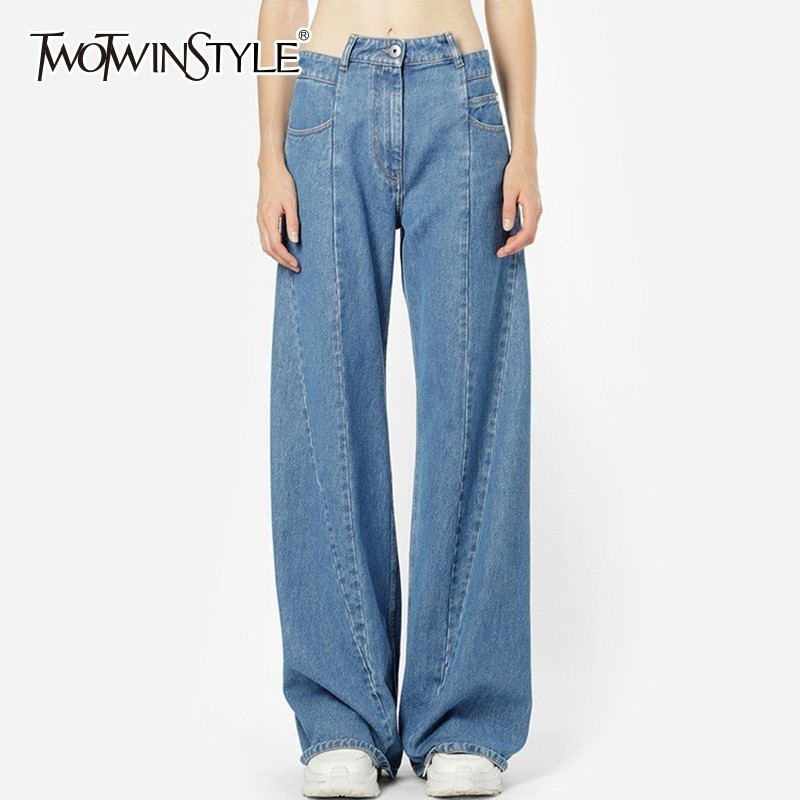 TWOTWINSTYLE Patchwork Jeans Female High Waist Asymmetrical Long Wide Leg Trousers For Women 2019 Spring Casual Fashion Tide