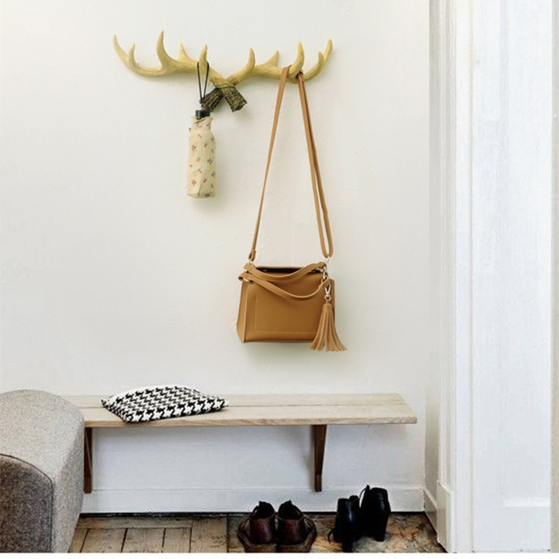 Scandinavian Creative Resin Antler Hook Coat Rack Storage Key Hat Retro Home Porch Wall Decoration Cafe Bookstore Recommend