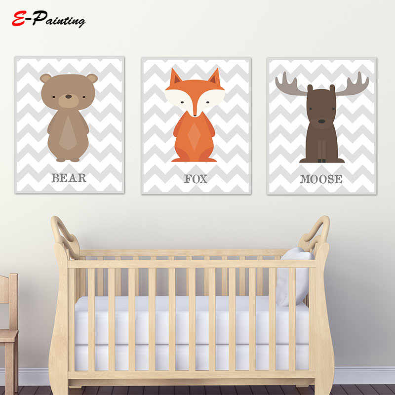 Woodland Nursery Decor Wall Art Prints Brown Moose Cute Baby Animal Canvas Painting Poster Kid Bedroom Picture
