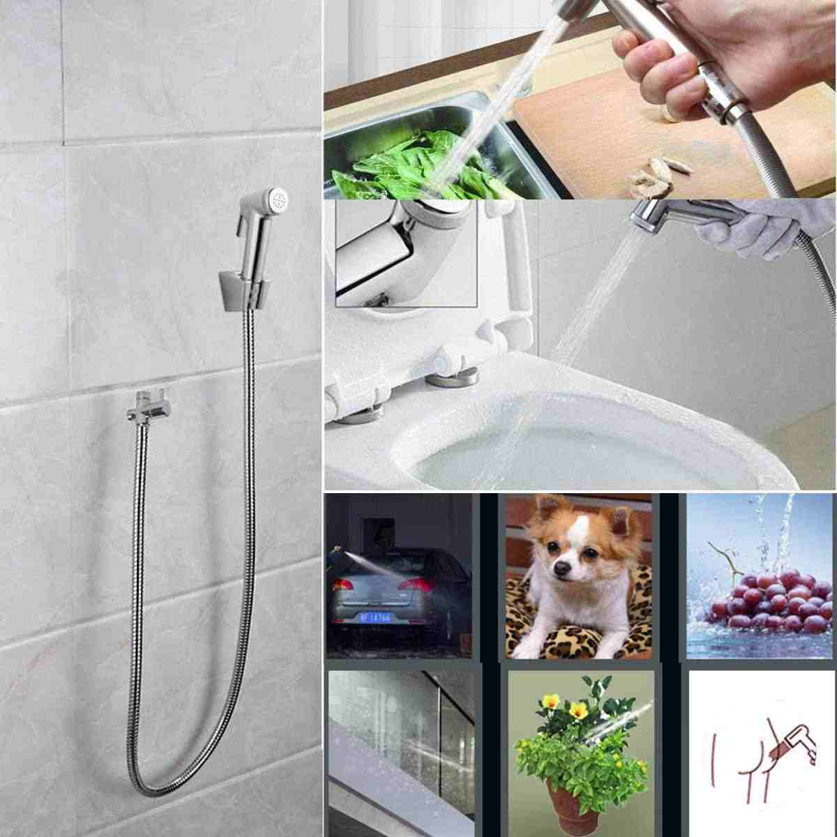 Stainless Steel Hand Held Shower Head Toilet Bidet Sprayer Tap Set Portable Washer Jet Guns Seat Bidet Handheld Hygienic Spray