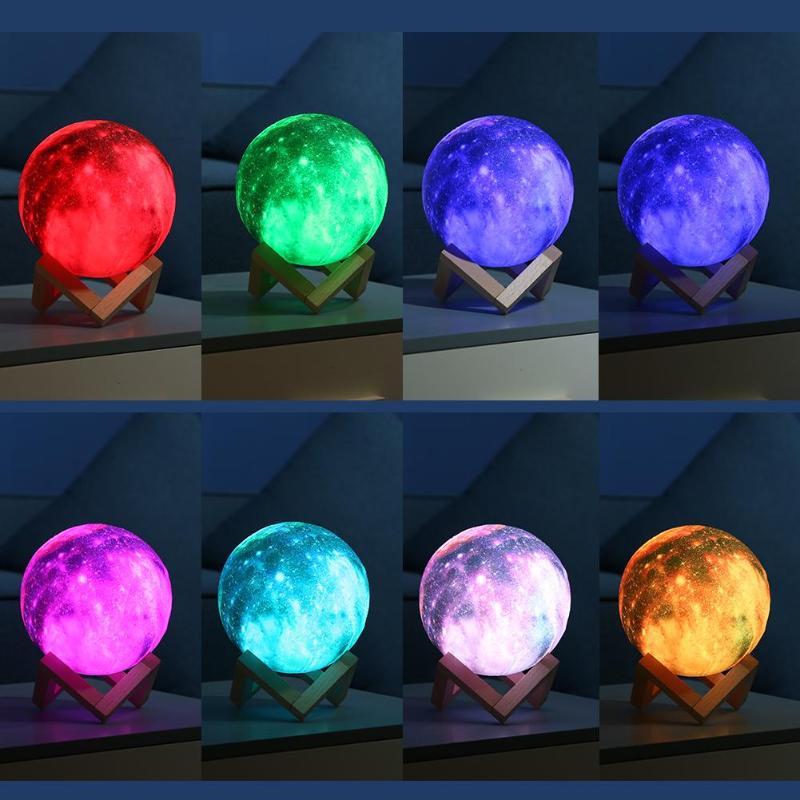 3D imprimir cielo estrellado cielo estrella Luna lámpara colorido 16 cambio de Color Interruptor táctil luz de noche decoración de casa con soporte de madera