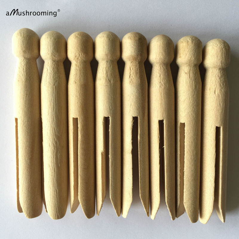 50 X WOODEN CLOTHES PEGS