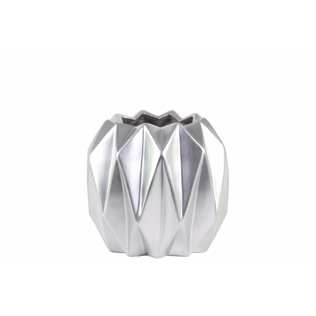 Round Short Vase with Uneven Lip and Ribbed Body Design- Silver- Benzara