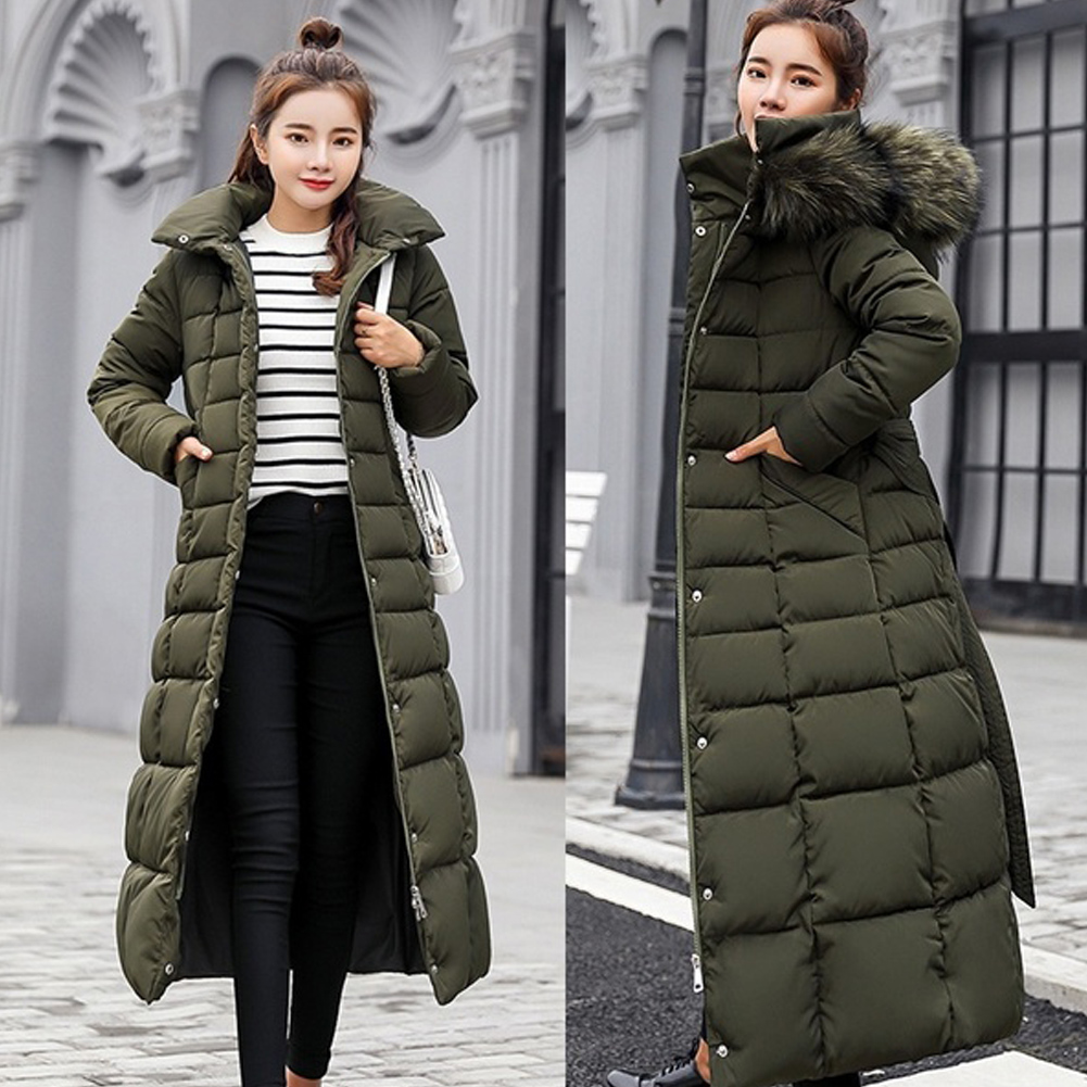 Women Hooded   Down     Coat   Winter Casual Jacket Warm Cotton-padded Long Thickening With Hat Long Sleeve