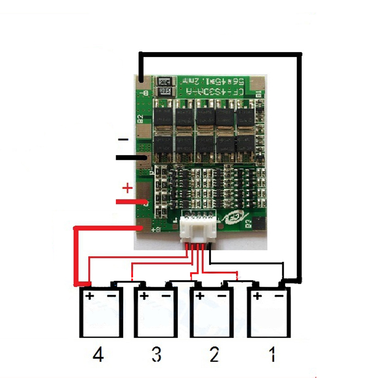 Battery Protection BMS PCB Board for 16 Packs 48V LiFePO4 Cell max 25A w//Balance