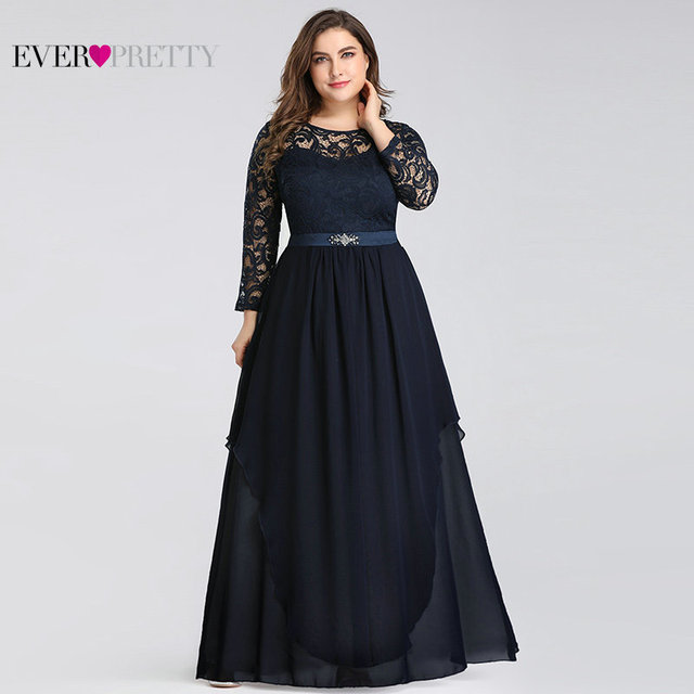 Plus Size Mother of the Bride Dresses Ever Pretty 7716 Elegant Long Sleeve Lace A-line Crystal Sashes 2020 Evening Party Gowns 2