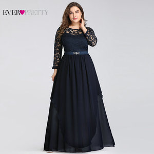 Image 2 - Plus Size Mother of the Bride Dresses Ever Pretty 7716 Elegant Long Sleeve Lace A line Crystal Sashes 2020 Evening Party Gowns