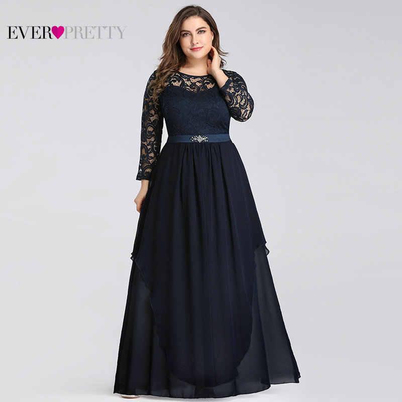 Vestidos de talla grande Madre de la novia siempre bonitos 7716 elegantes de manga larga de encaje Línea A de cristal fajas 2019 vestidos de fiesta de noche
