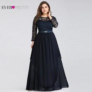 Image 2 - Vestidos de talla grande para madre de la novia, elegantes vestidos de encaje de manga larga de corte en A con cintas de cristal 7716 Vestidos de fiesta de noche