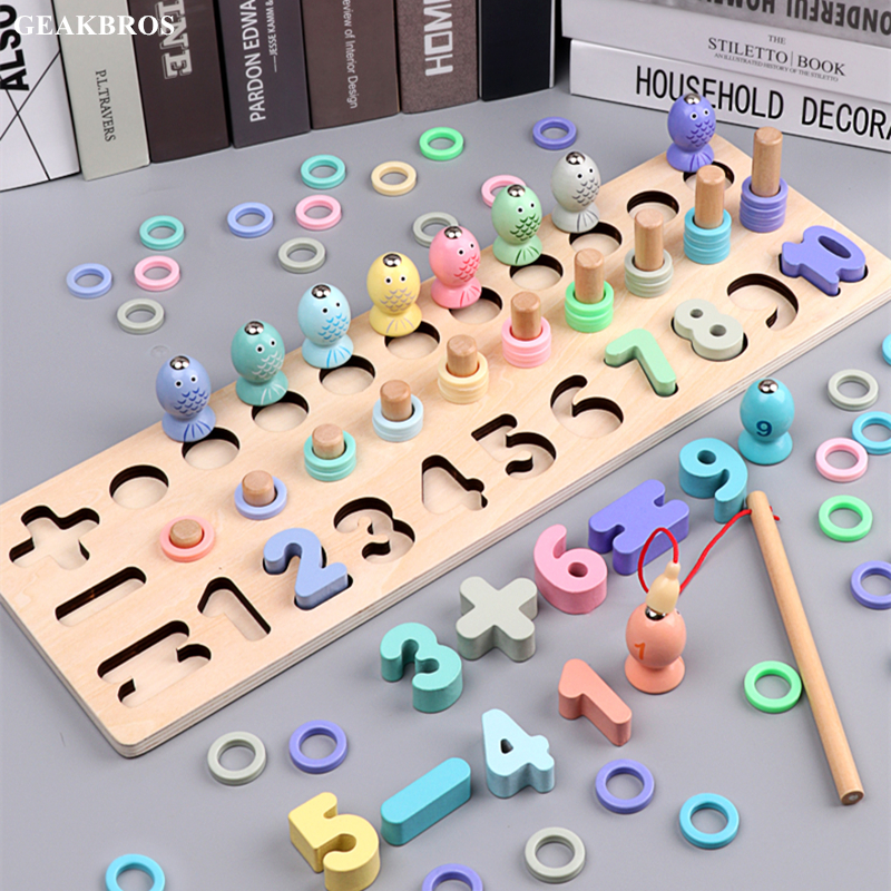 Kids Preschool Wooden Montessori Toys Magnetic Fishing Game Count Geometric Match Children Early Education Teaching Math Toy