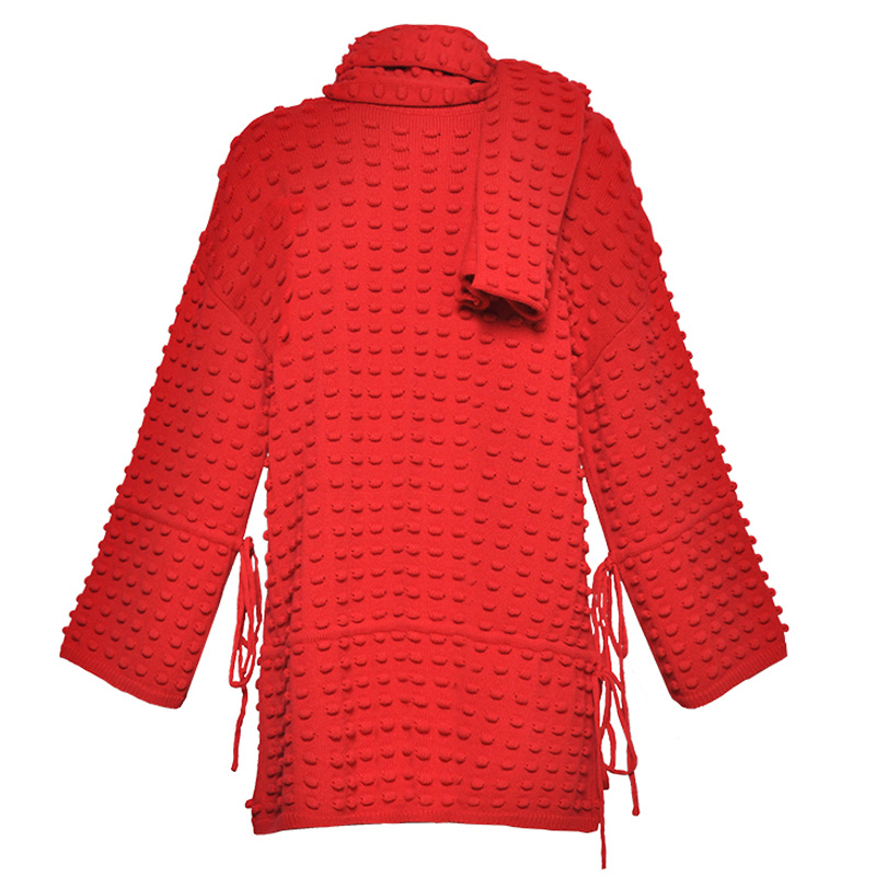 1d3c2b66198 Oansatz 2019 Rot Mini Elegante Rippen Frauen Langarm rot Tunika Pullover  Beige Kleid Mode Wolle Gestrickte Runway ...