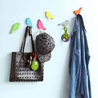 SoBuy FRG64 F Set of 6 Wall Hooks in Bird Design, Wall Hangers Coat Hooks