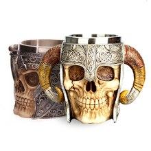 Stainless Steel Skull Mug Viking Ram Horned Pit Lord Warrior Beer Stei