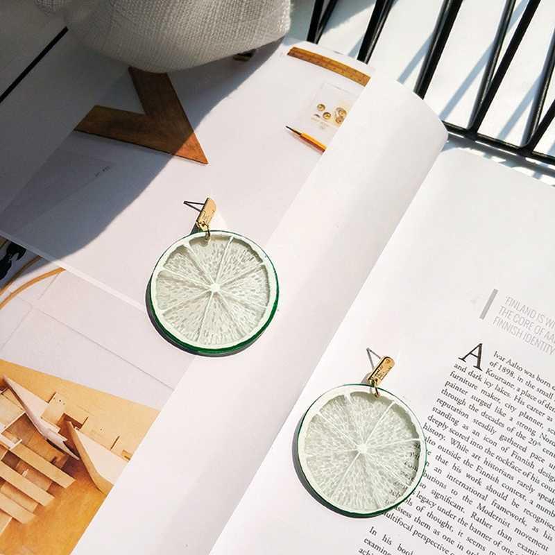 נשים אופנתי מזדמן אלגנטי אבץ סגסוגת זהב-צבע סיליקון עגול גיאומטרי שרף פירות לימון תליית להתנדנד טיפת עגילים