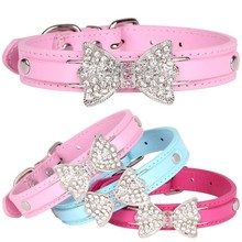 PU Leather Pet Cat Dog Collar Rhinestone Bowknot Puppy Collars for Small Medium Larger Neck Strap Chihuahua Teddy XS/S/M/L