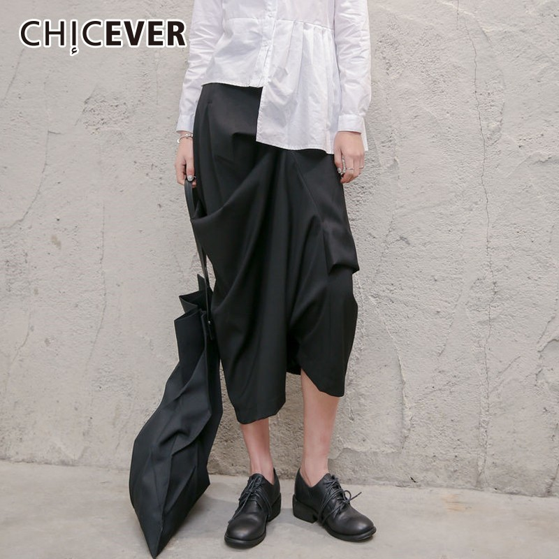 CHICEVER Irregular Women's   Wide     Leg     Pants   Female High Waist Loose Black Ankle-length   Pants   Fashion Casual Clothes Tide