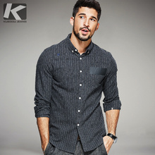 KUEGOU New Autumn Mens Fashion Shirts Striped Dark Grey Brand Clothing For Man's Long Sleeve Slim Clothes Male Wear Tops 0650
