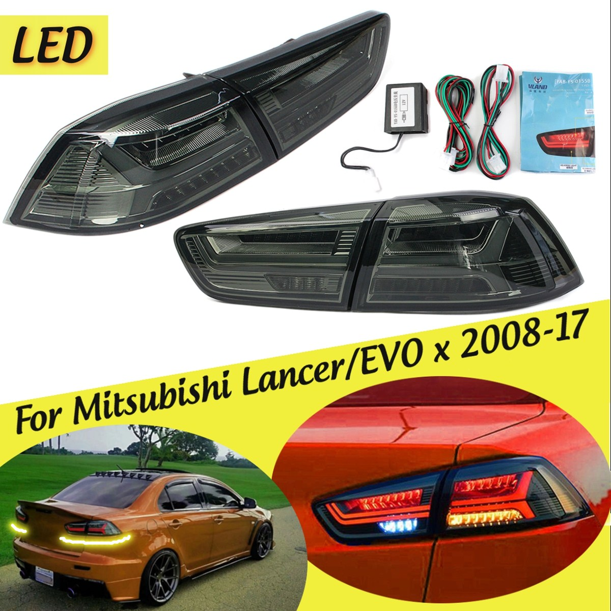 1 Pair for Mitsubishi Lancer/EVOx2008-2017 Rear LED Tail Brake Light Lamps Tail Light Signal LED DRL Stop Rear Lamp Accessories