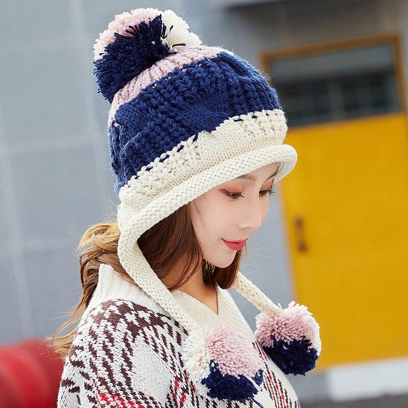 Winter   Beanies   Women Knit Hat 2018 Winter Hats For Women Ladies Girls Caps Balaclava Pompom Bonnet Warm   Skullies     Beanies   Hat