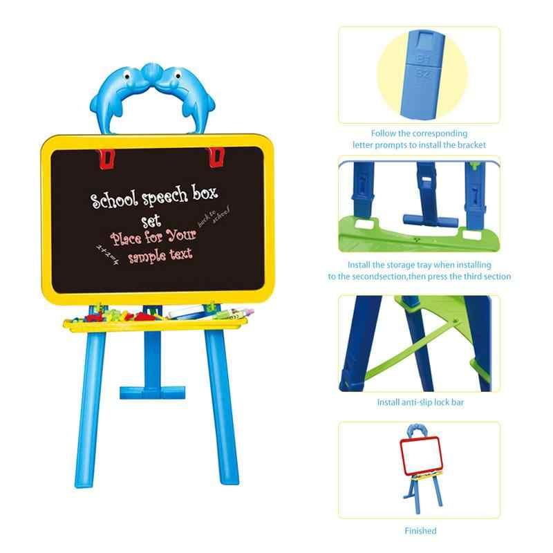 Drawing Board Anak-anak Magnet Dua Sisi Papan Doodle Adjustable Pendidikan Awal Kuda-kuda Grafiti Papan Mainan