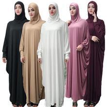 ผู้หญิงมุสลิม Overhead Jilbab ชุด Hijab Abaya สวดมนต์ Farasha Robe อิสลาม Maxi ชุดแขนค้างคาวหลวม Casual อาหรับชุดรอมฎอน