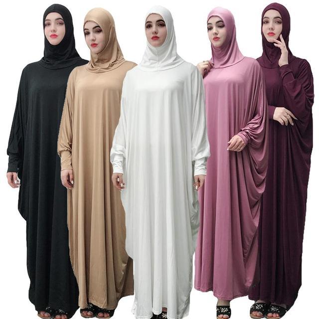 Women Muslim Overhead Jilbab Gown Hijab Abaya Prayer Farasha Robe Islamic Maxi Dress Bat Sleeve Loose Casual Arab Gown Ramadan