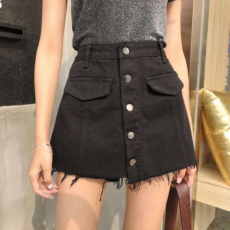 Women Summer Fashion Button Design High Waist Jean Shorts Skirt Casual Frayed Fringe Denim Shorts Femme Short Jeans