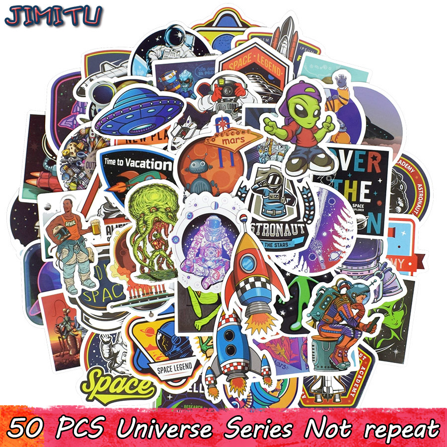 50 PCS Universe Sticker Toys for Children Aviation UFO Alien Spaceship Science Creative Stickers to Scrapbooking Laptop Luggage